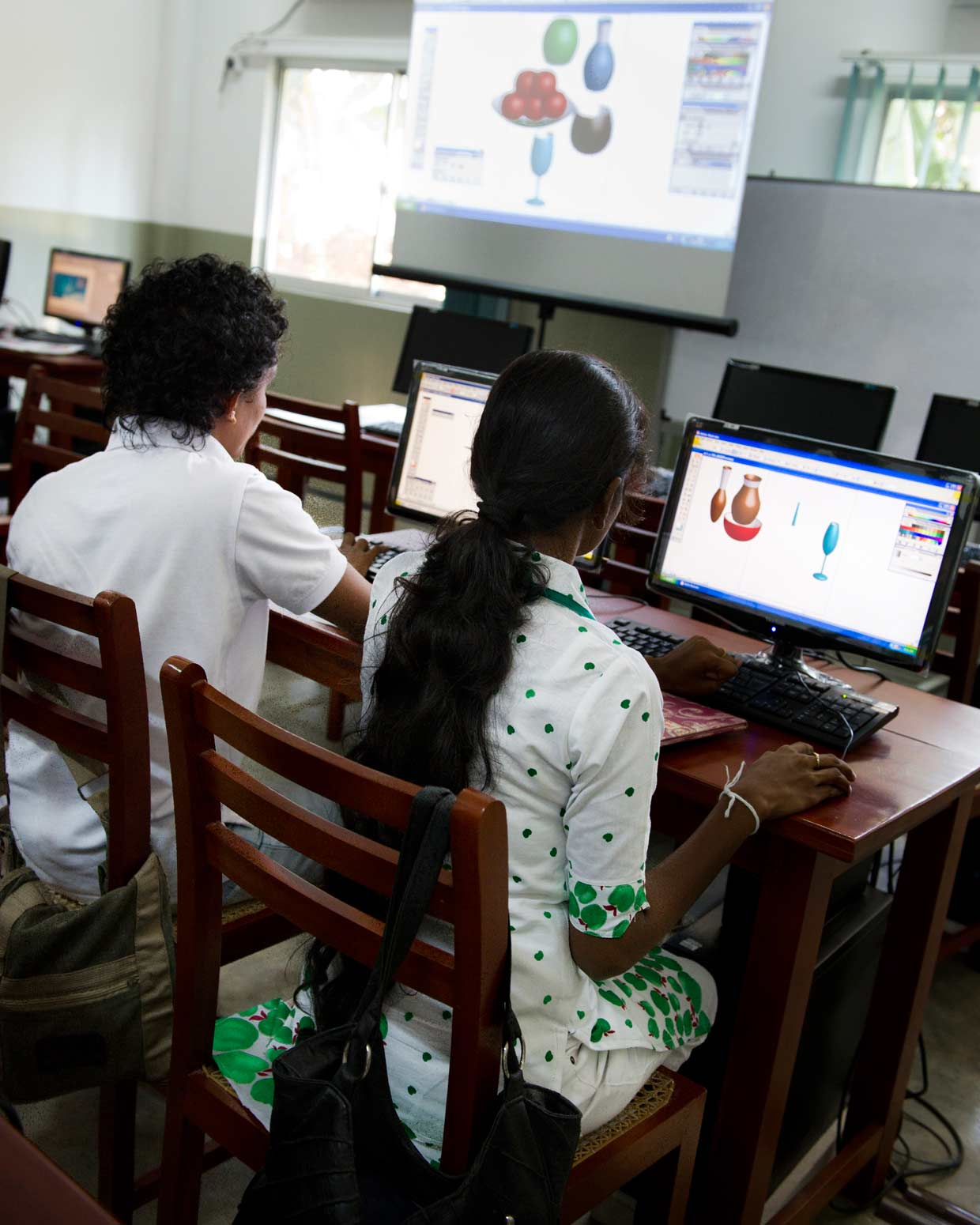 Students at the Curtis Graphic Design Centre. Established in 2011 at the MJF Foundation Centre, Moratuwa to provide free training in graphic design for underprivileged youth, nearly fifty students graduate each year with valuable qualifications.