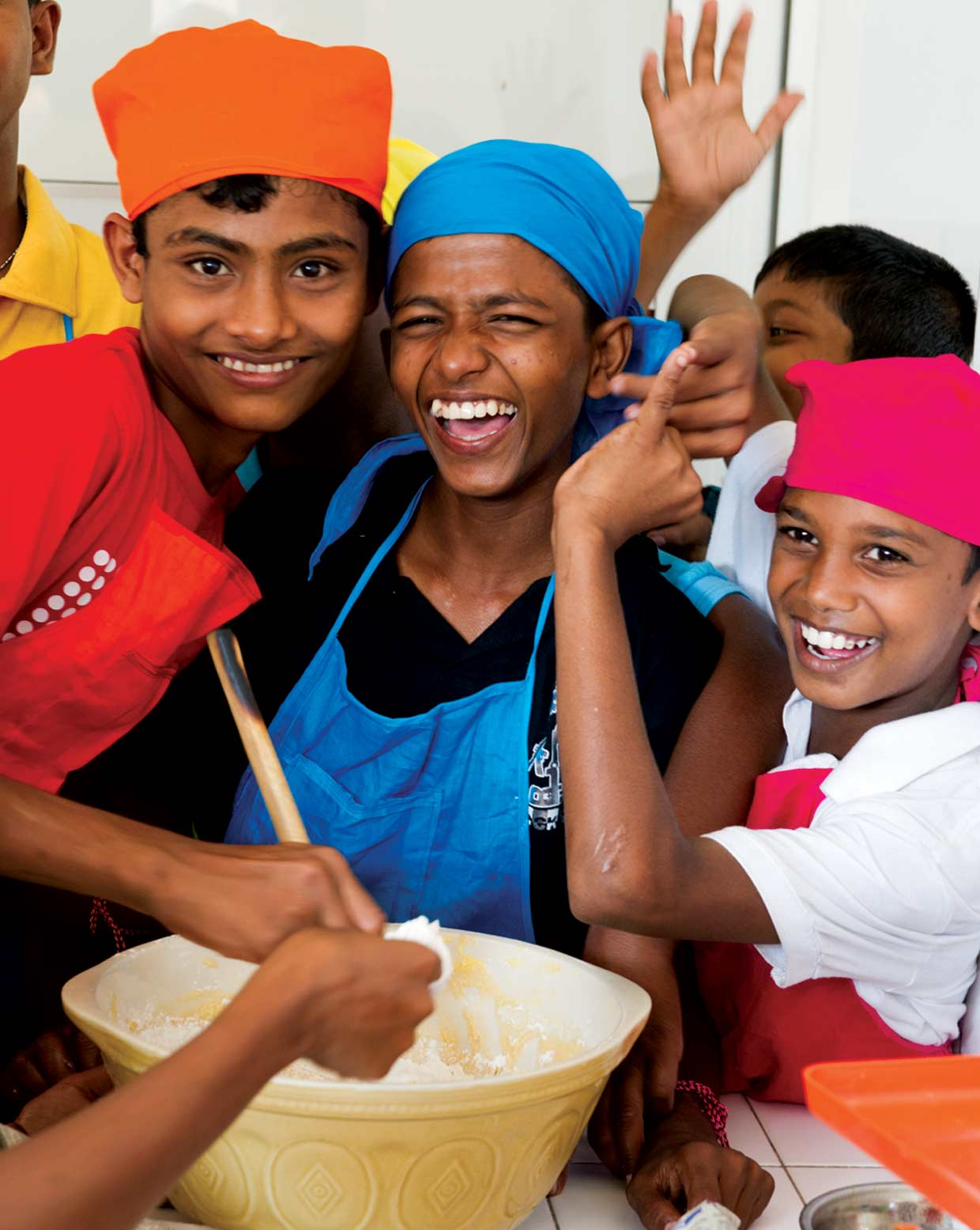 A cooking exercise to instill qualities of working together as a group. The MJF Kids have fun together at the MJF Foundation Centre, Moratuwa in January 2012 where children from marginalised communities are afforded the opportunities for a better future.