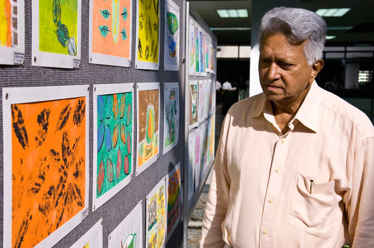 Nurturing the artistic abilities of the MJF Kids. The Founder appreciating their art and craft during an exhibition held to celebrate their creative abilities in 2010.