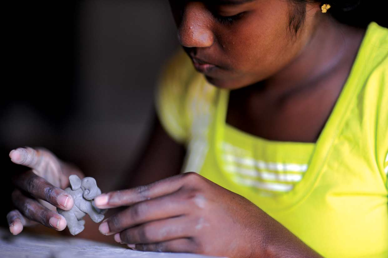 Creating individual pieces of art and craft at Mankada, the Merrill J. Fernando Centre for Traditional Art and Craft. Mankada provides empowerment opportunities for members of a remote village in south eastern Sri Lanka since 2007.