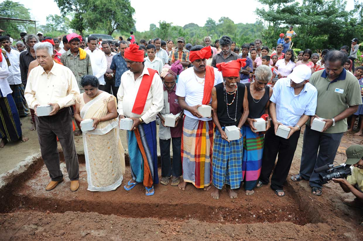 Laying the foundation stone to build a cultural centre for the Ahikuntika people in 2011. Dilmah Conservation is working with this traditional Sri Lankan community to ensure that their unique culture is preserved for posterity.