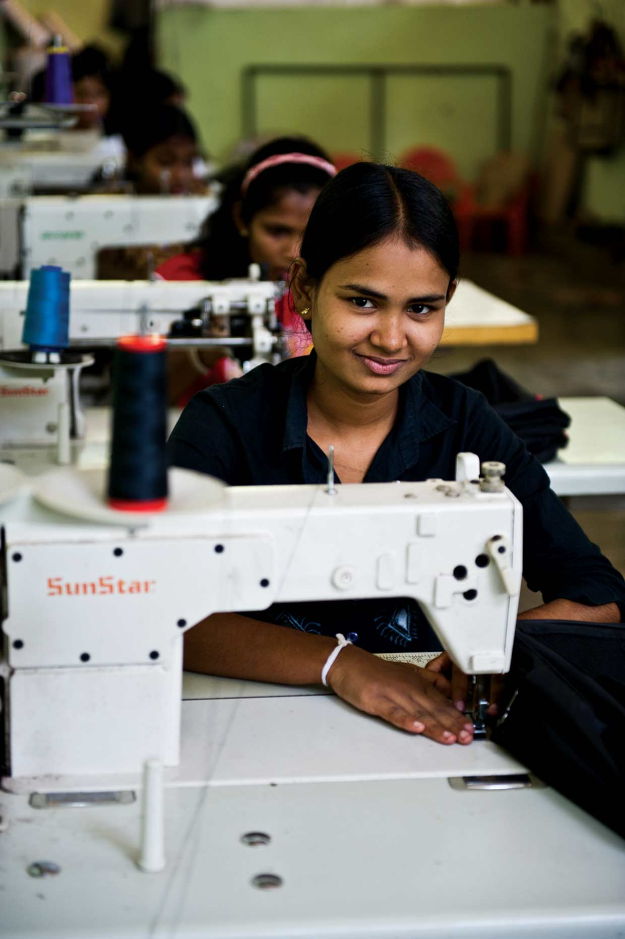 Busy at their sewing machines! Students of the School for the Hearing and Visual Impaired in Moneragala are provided free vocational training at the MJF Charitable Foundation sponsored Daskam Nivasa established in 2008.
