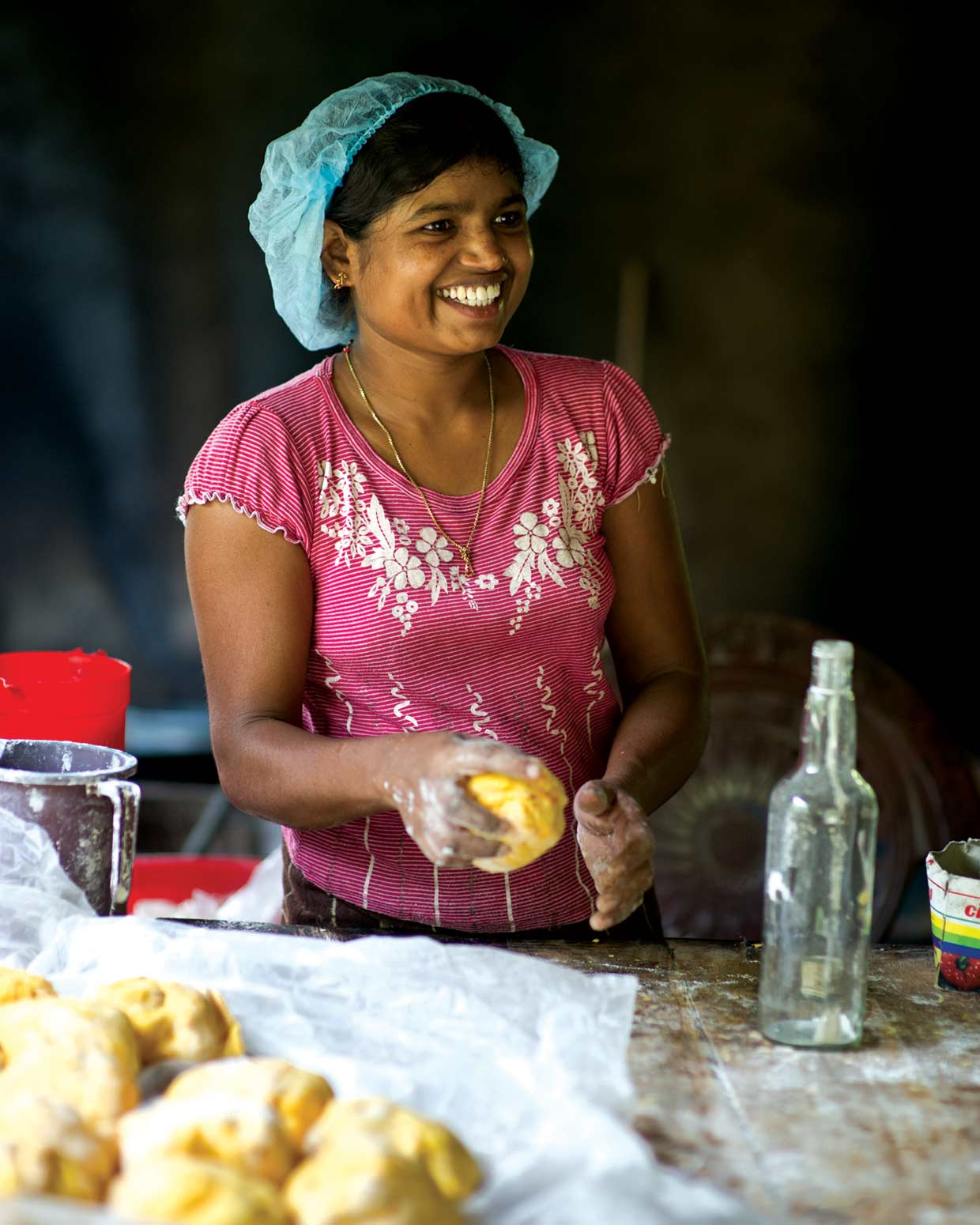 A Small Entrepreneur Programme recipient busy at her workstation. The scheme introduced by the MJF Charitable Foundation in 2005 supports individuals with skills and promise establish themselves in a suitable business.