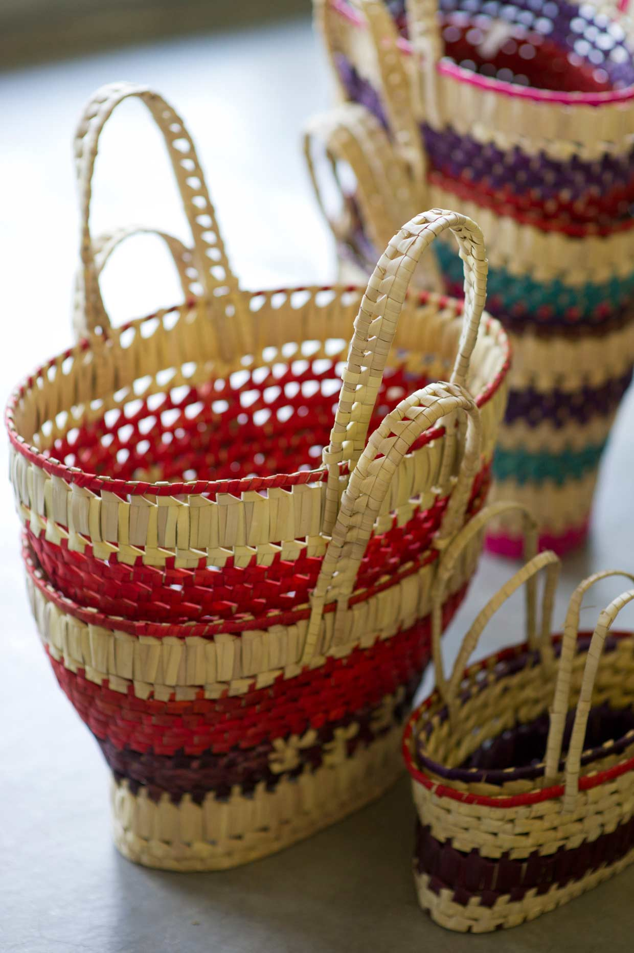 Hand woven baskets come to life through the nimble hands of the young women at the Daskam Nivasa, situated at the School for the Hearing and Visual Impaired in Moneragala. Vocational training gives older students a chance to lead independent lives.