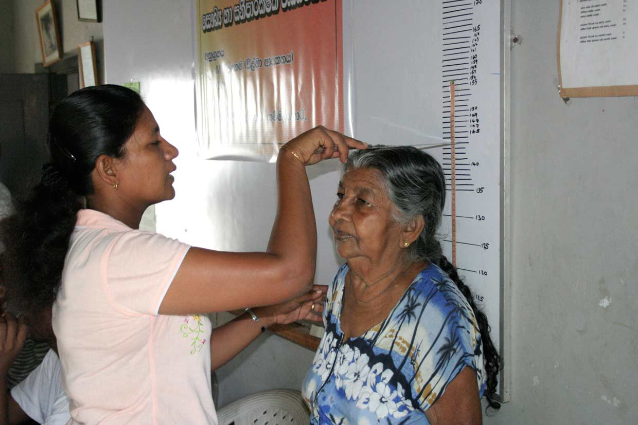 In the village of Pallansena, the birthplace of the Dilmah Founder, a senior citizen is one of the many recipients of the periodic medical camps sponsored by the MJF Charitable Foundation.