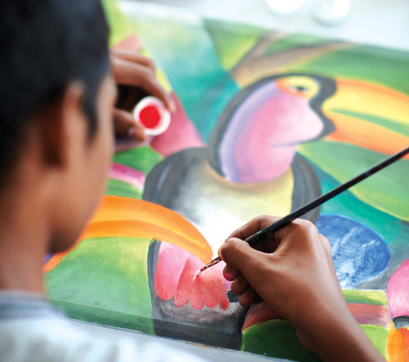 MJF Kids of various ages attend art and craft classes at the MJF Centre in Moratuwa where they paint to their hearts content and enjoy themselves immensely. Art and craft classes are used as a medium to help these children express their aspirations and their fears.