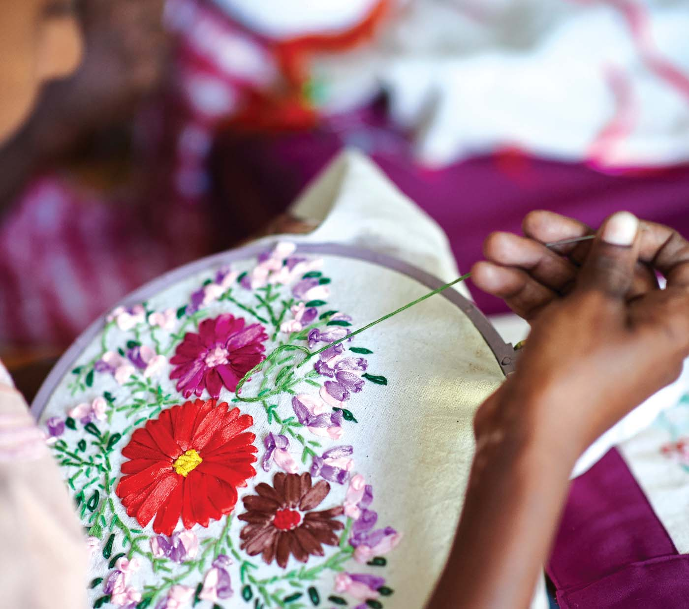 Women attending the Foundations Women's Development Programme benefits from threadwork and ribbon embroidery classes. In the future, women who show potential will be supported via the MJF Charitable Foundation's Small Entrepreneur Programme to enhance their chosen livelihood.