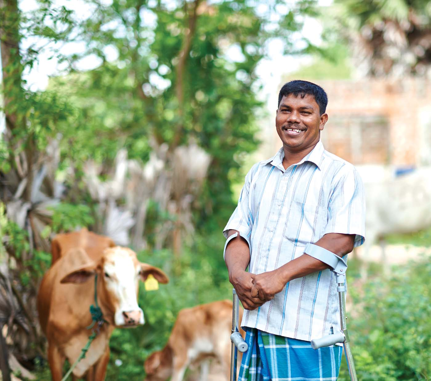 Kanapathy Yogarasa was a child rebel-combatant and surrendered to the state in 2009. He is an amputee and is currently engaged in dairy farming. The Foundation's Small Entrepreneur Programme provided him with cattle in hopes of dignifiedly empowering Yogarasa through a sustainable livelihood.