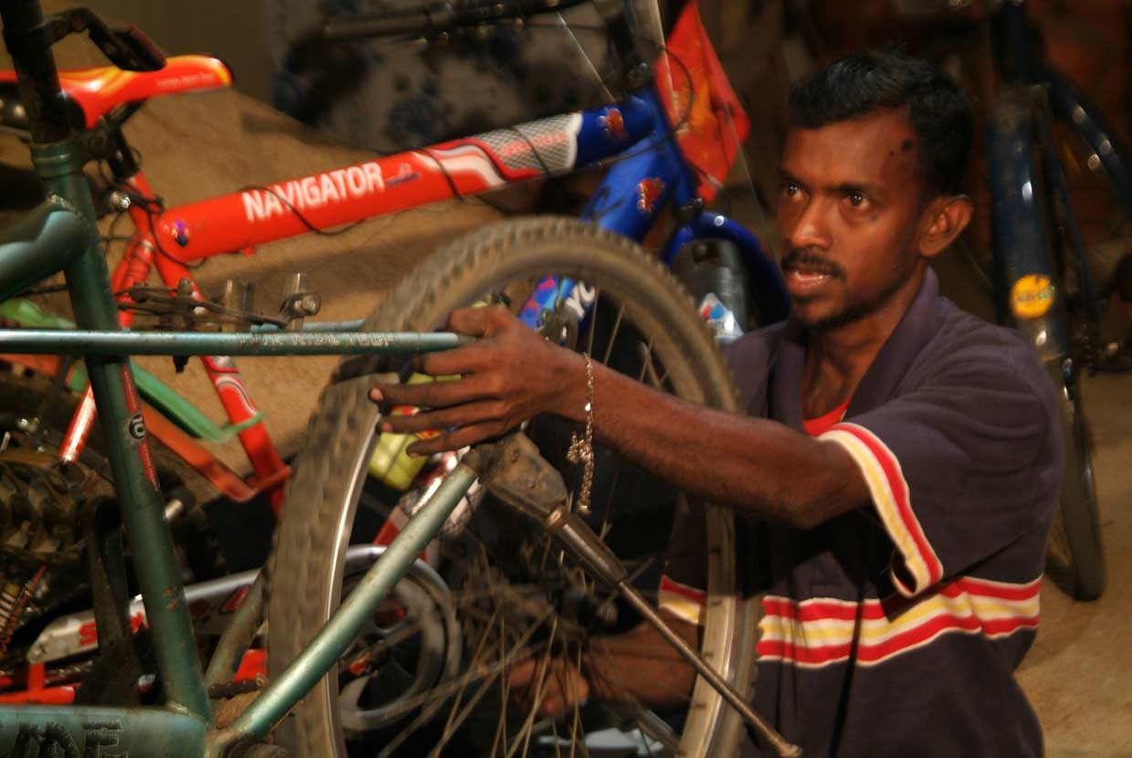 Badly burnt as result of a childhood accident, Udayaratne faced many challenges before receiving support from the MJF Charitable Foundation to set up his own bicycle repair shop, in Moneragala, south eastern Sri Lanka in 2010.