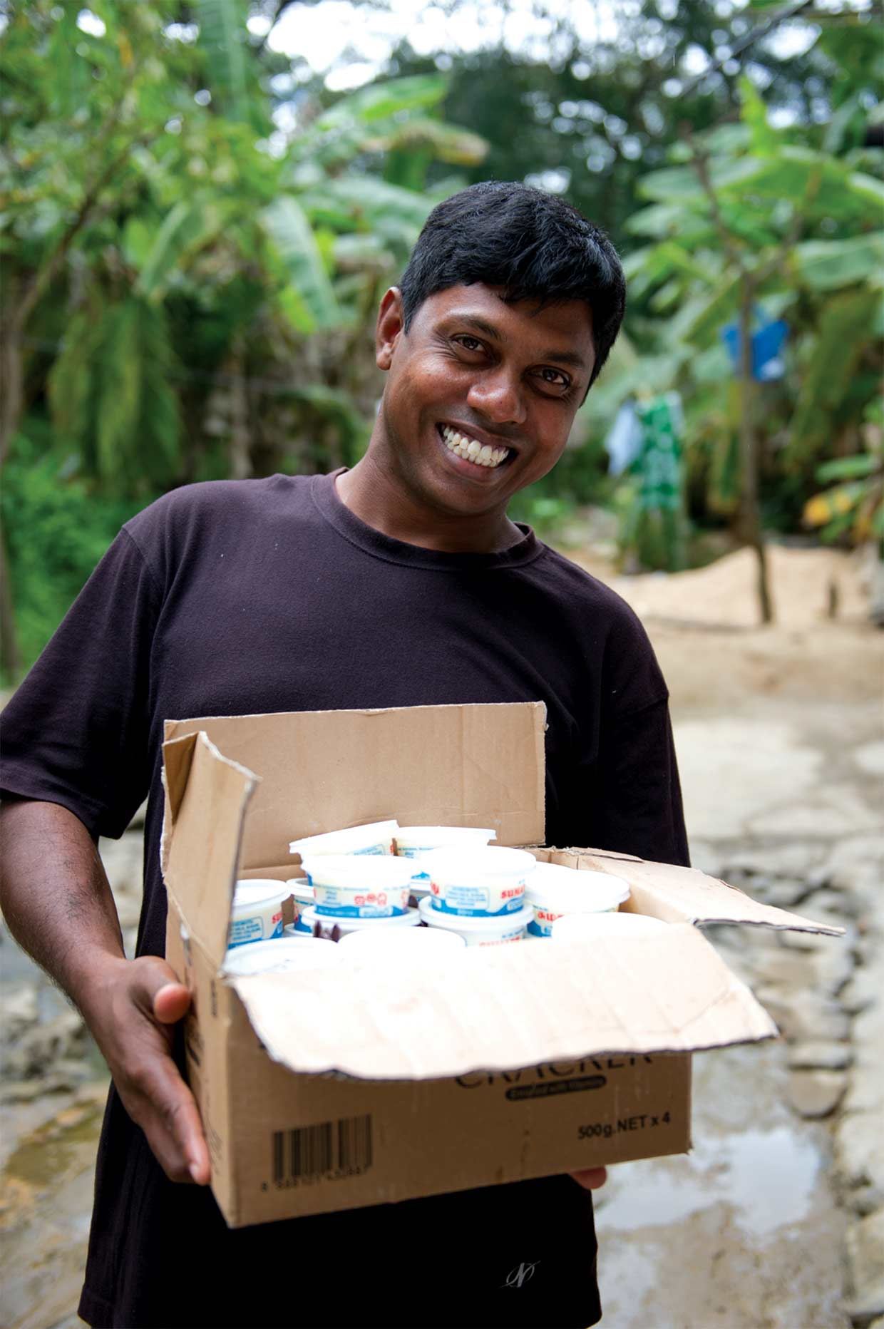 Changing Lives – a recipient of the Small Entrepreneur Programme with the fruits of his labour. The programme initiated in the aftermath of the 2004 Asian Tsunami, has helped over 750 individuals establish themselves as small time businessmen.