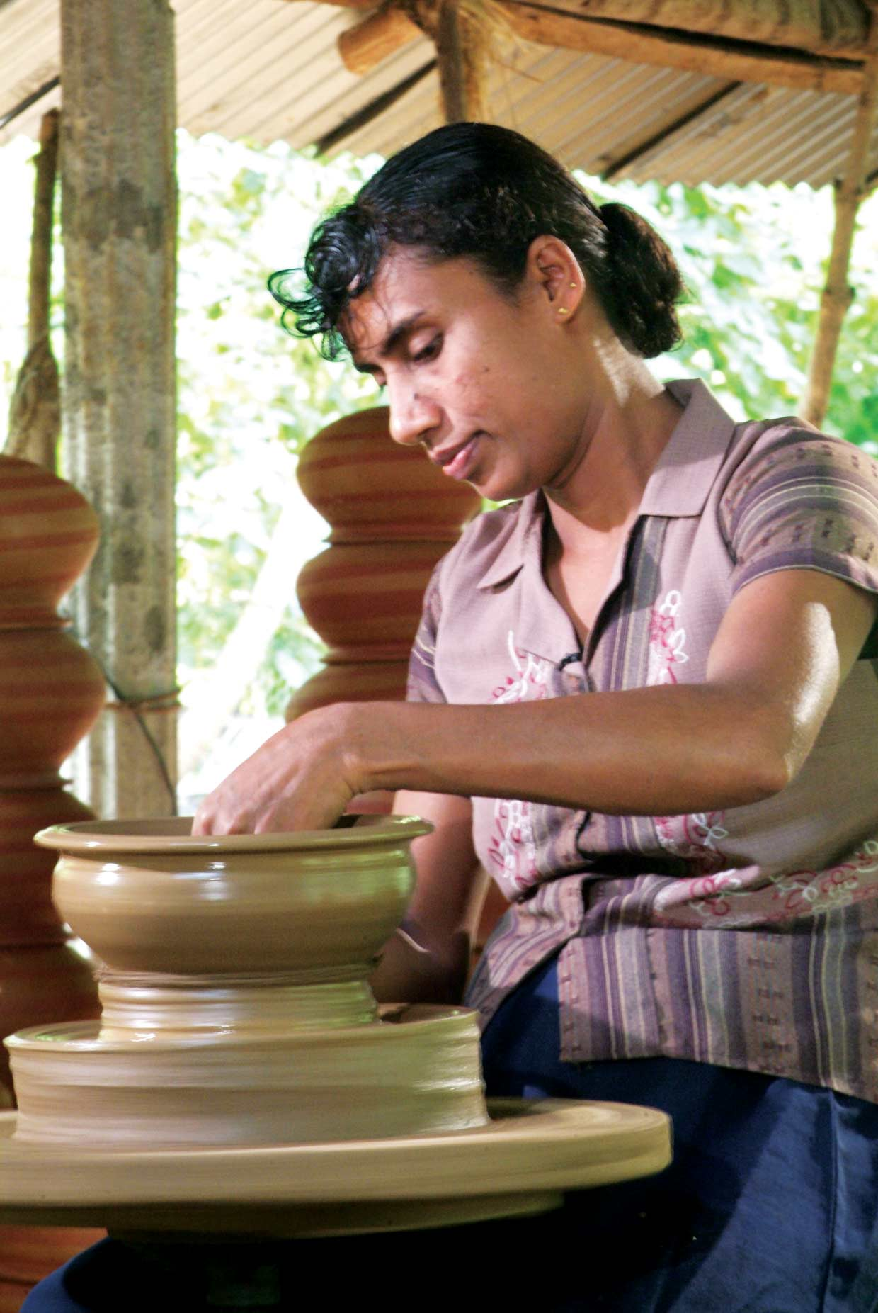 Small Entrepreneur Programme recipient Chandralatha from Moneragala in south eastern Sri Lanka creates beautiful pottery thanks to the support she received from the MJF Charitable Foundation in 2009. She is one of the 750 successful recipients of the scheme.