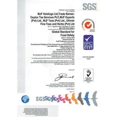 British Retail consortium Global Standard for Food Safety certification obtained